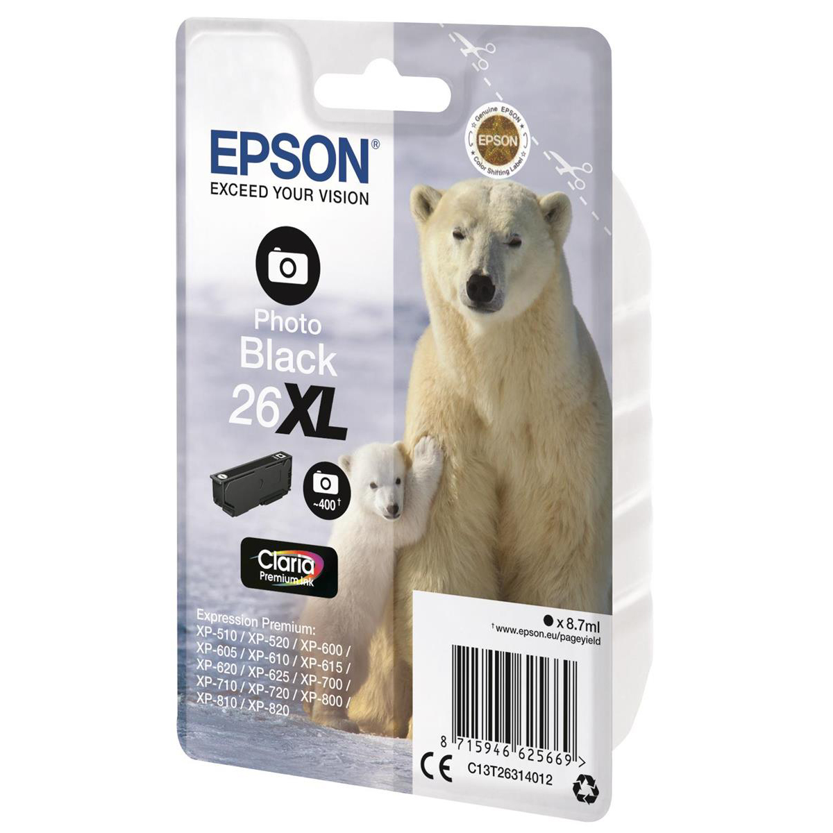Epson 26XL Inkjet Cartridge Polar Bear High Yield Page Life 400pp 8.7ml Photo Black Ref C13T26314012