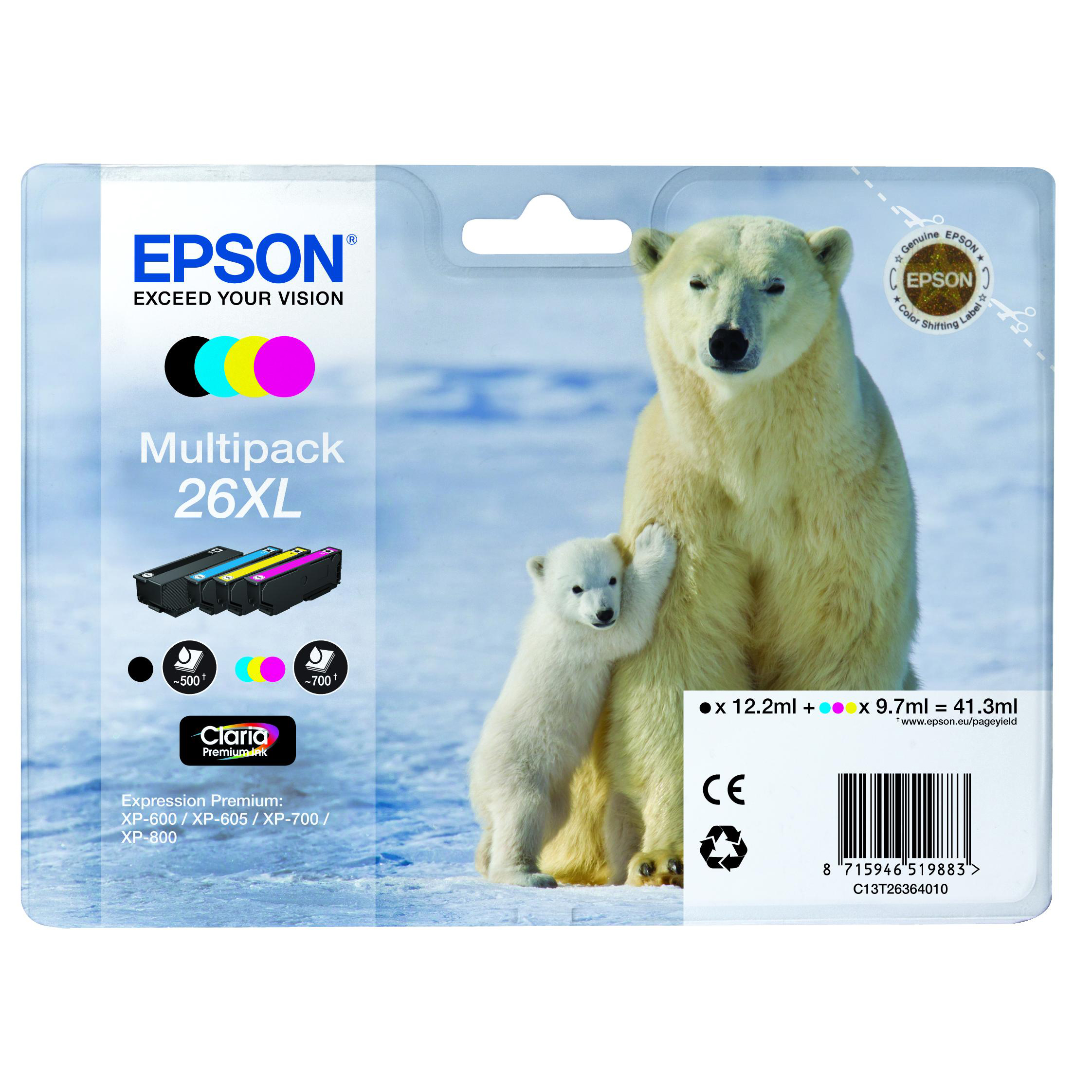 Epson 26XL Inkjet Cartridge Polar Bear HY Black/Cyan/Magenta/Yellow 41.3ml Ref C13T26364010 [Pack 4]