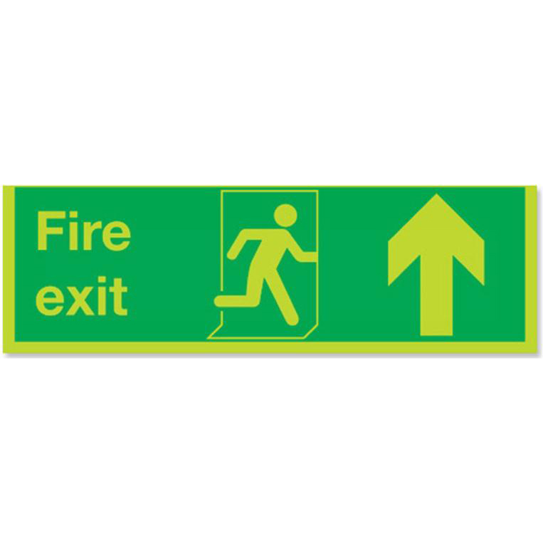 Stewart Superior Fire Exit Sign Man and Arrow Straight Up W600xH200 Self-adhesive Vinyl Ref SP087SAV