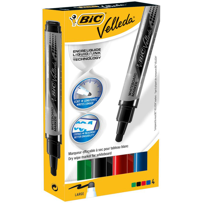 Bic Velleda Marker W/bd Dry-wipe Liquid Ink Tank Large Bullet Tip 2.3mm Line Assorted Ref 902099 Pack 4