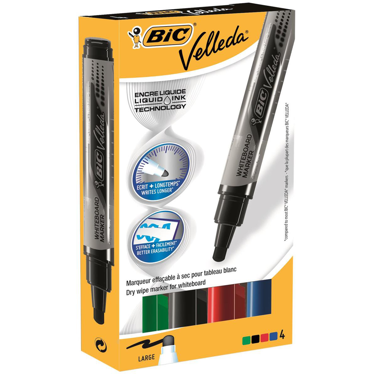 Bic Velleda Marker W/bd Dry-wipe Liquid Ink Tank Large Bullet Tip 2.3mm Line Assorted Ref 902099 [Pack 4]