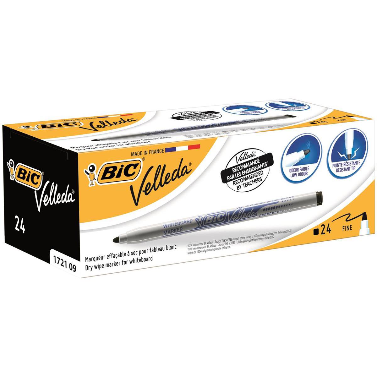 Bic Velleda Drywipe Marker 1721 Bullet Tip 1.5mm Line Black Ref 841842 Pack 24