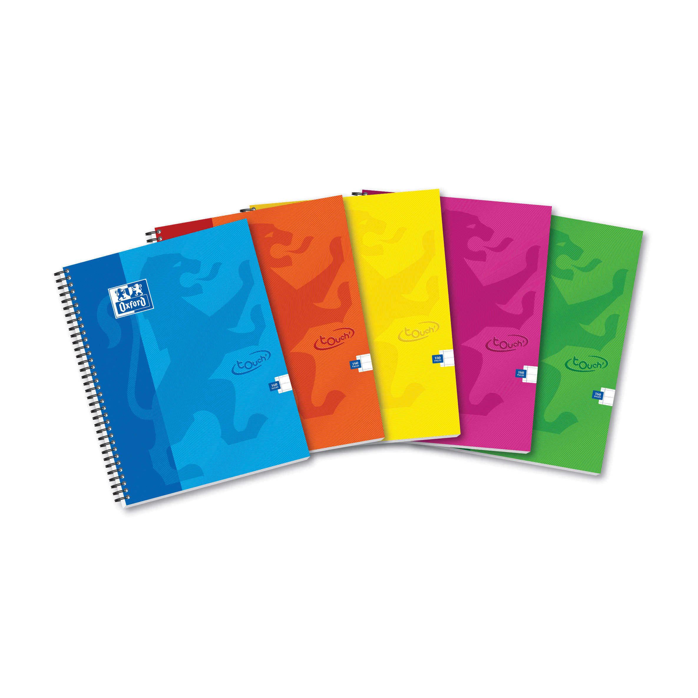 Oxford Touch Wirebound Hardback Notebook A4 Assorted (Pack of 5) 400109986