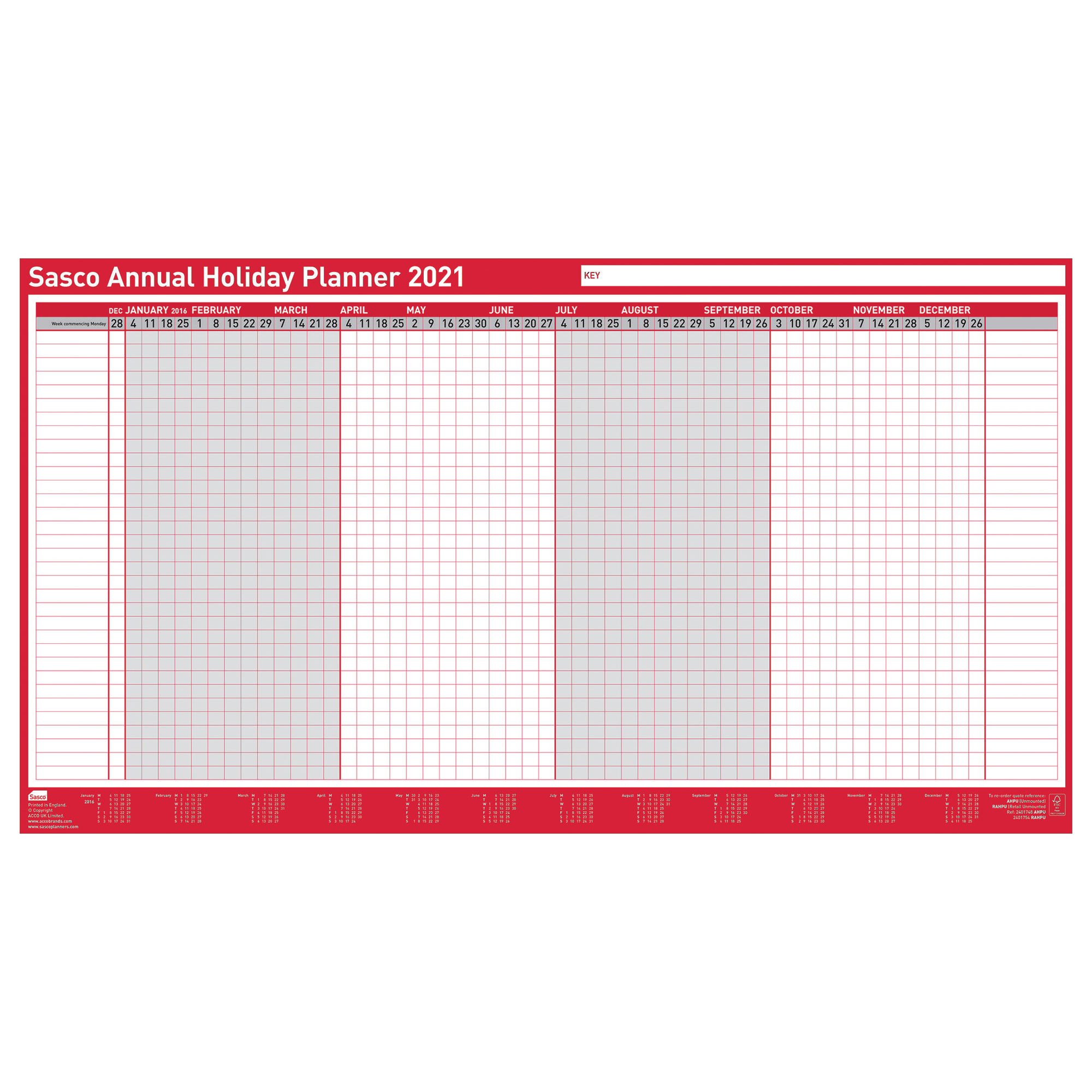 Wall planners Sasco 2021 Annual Holiday Planner Unmounted Landscape 750x410mm Ref 2410142