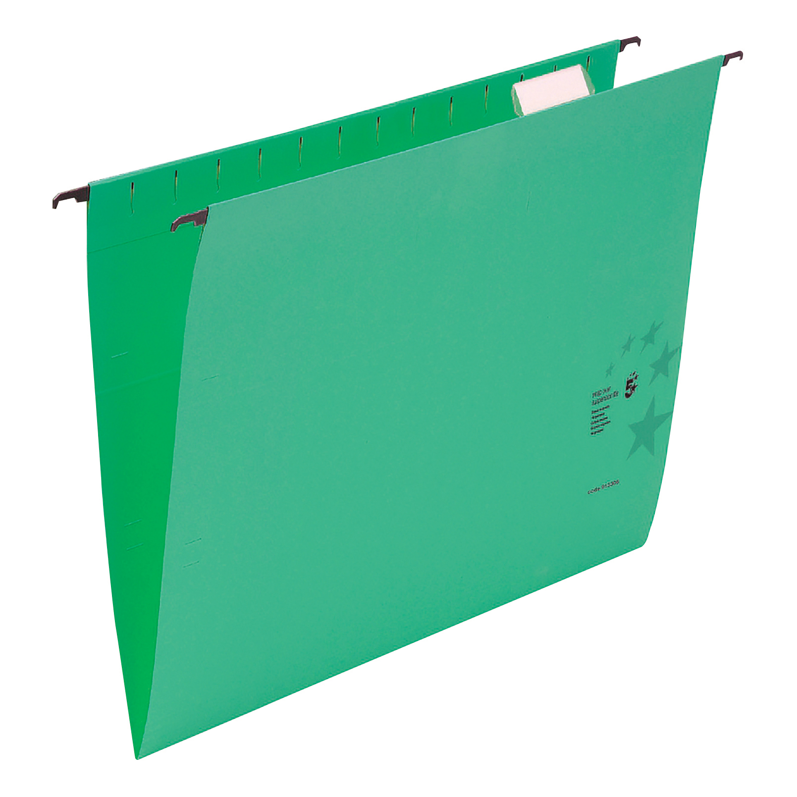 5 Star Office Suspension File with Tabs and Inserts Manilla 15mm V-base 230gsm Foolscap Green [Pack 50]