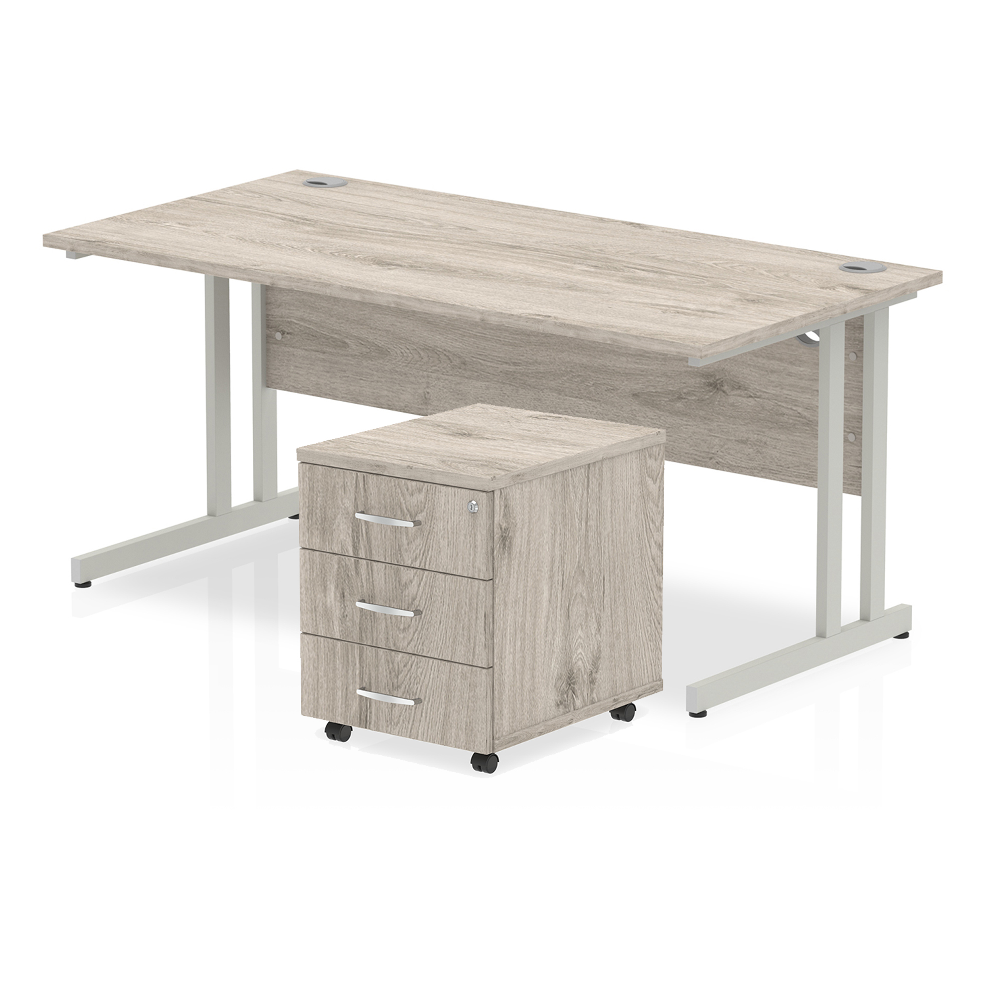 Desks Trexus Cantilever Desk 1600x800 & 3 Drawer Pedestal Grey Oak Bundle Offer Feb-Apr 2020