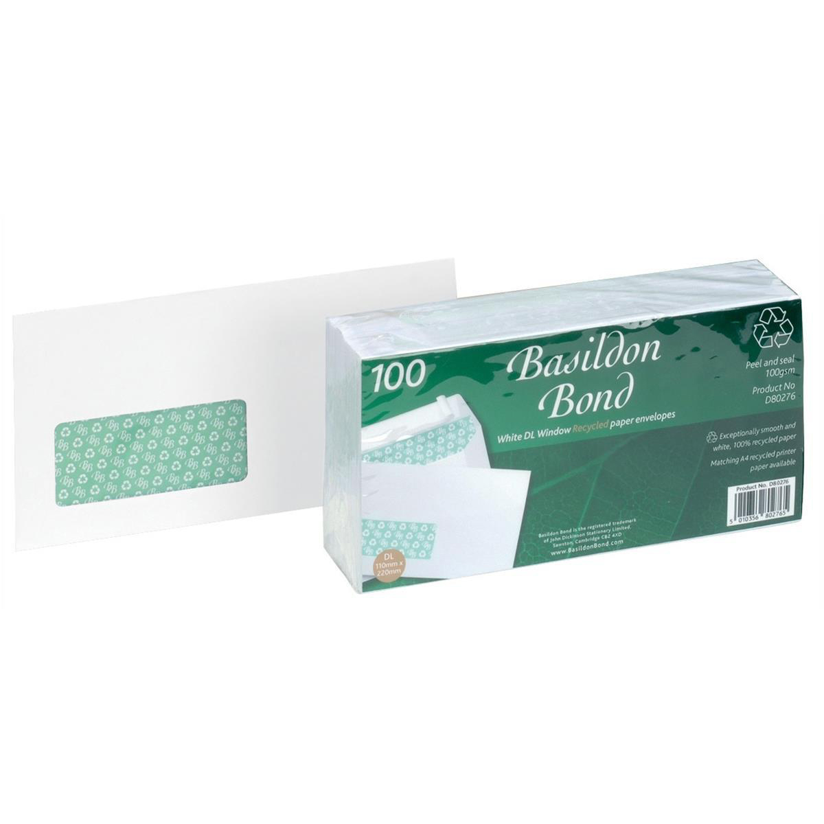 Window envelopes Basildon Bond Envelopes FSC Recycld Wallet P&S Window 120gsm DL 220x110mm White Ref D80276 Pack 100
