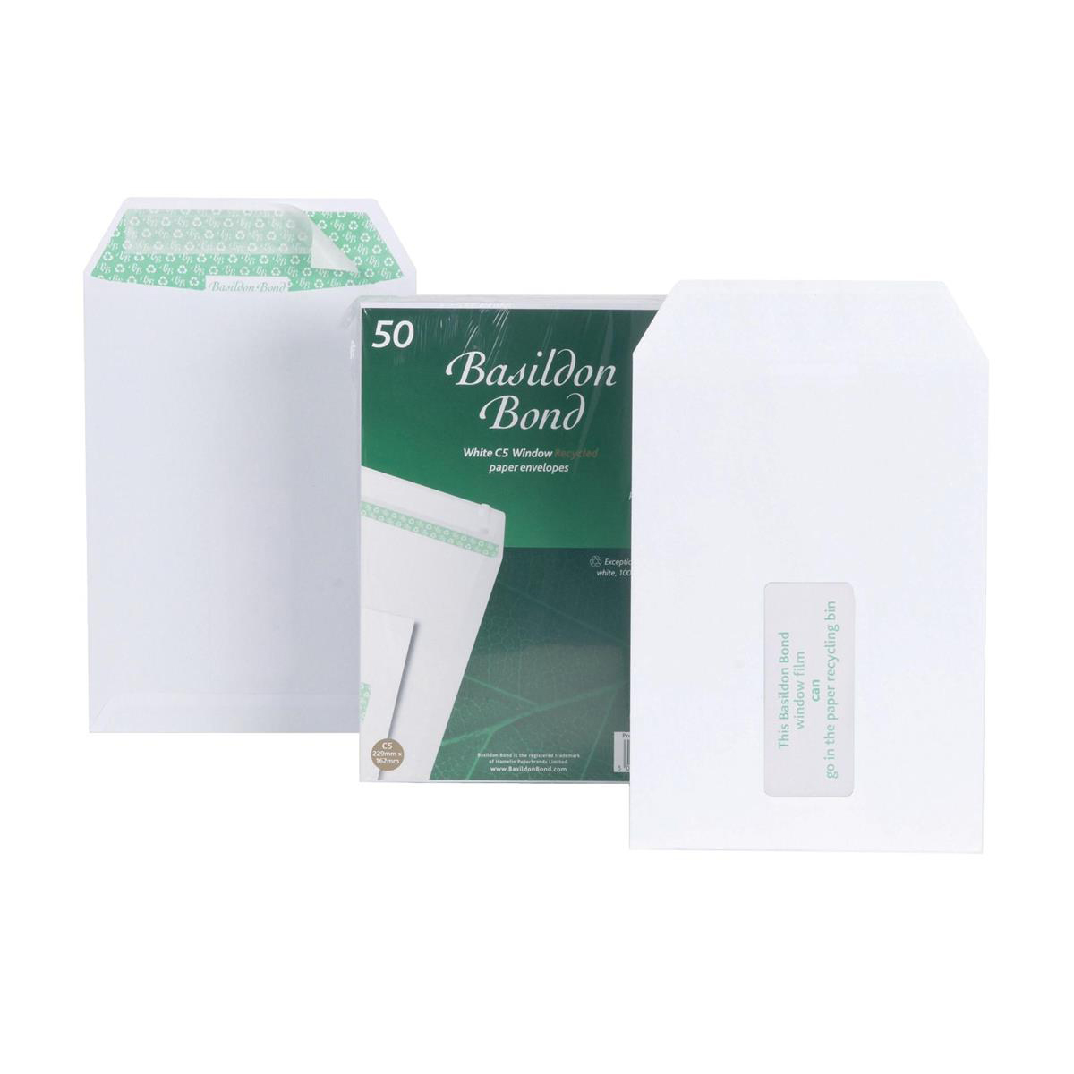 Basildon Bond Envelopes Recycled Pocket Peel and Seal Window 120gsm C5 White Ref M80278 [Pack 50]