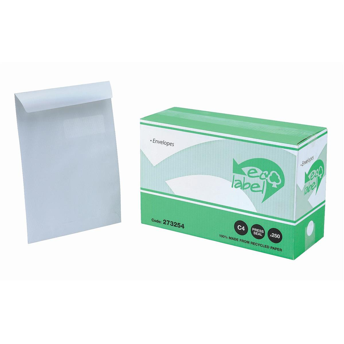 C4 5 Star Eco Envelopes Recycled Pocket Self Seal Window 90gsm C4 324x229mm White Pack 250