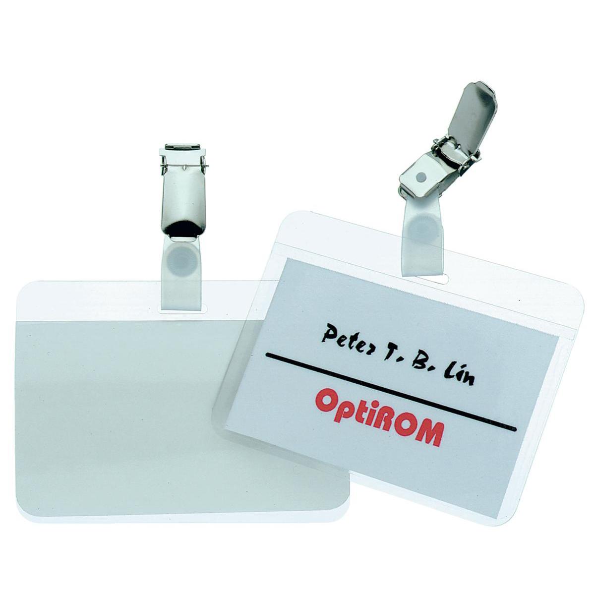 Durable Name Badges Self Laminating Self Adhesive W90xH54mm Transparent Ref 8102 Pack 25