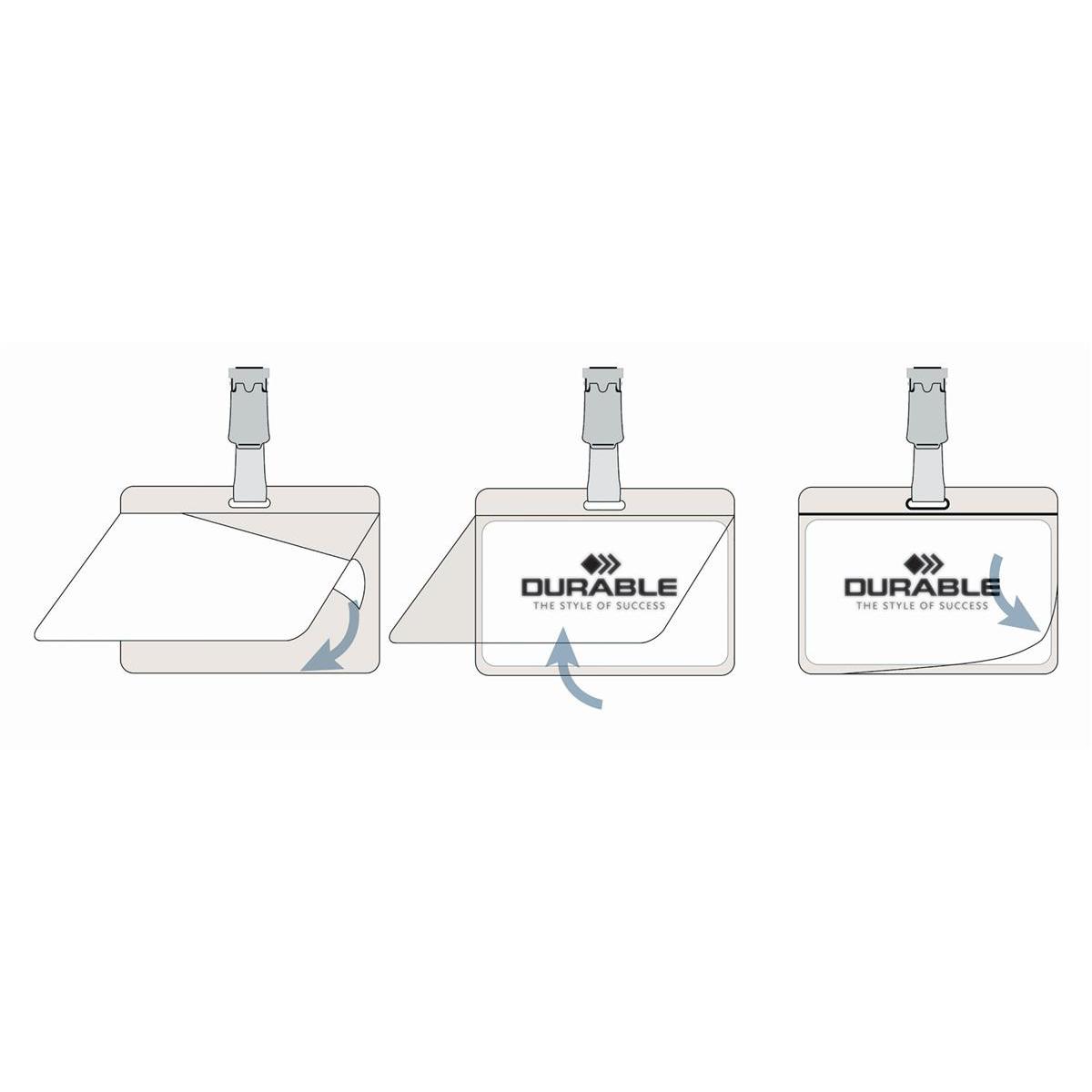 Durable Name Badges Self Laminating Self Adhesive W90xH54mm Transparent Ref 8102 [Pack 25]