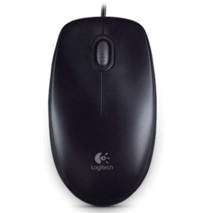 Wireless Logitech B100 Mouse USB Wired Optical 800dpi 3-Button Cable 1.8m Both Handed Black Ref 910-003357
