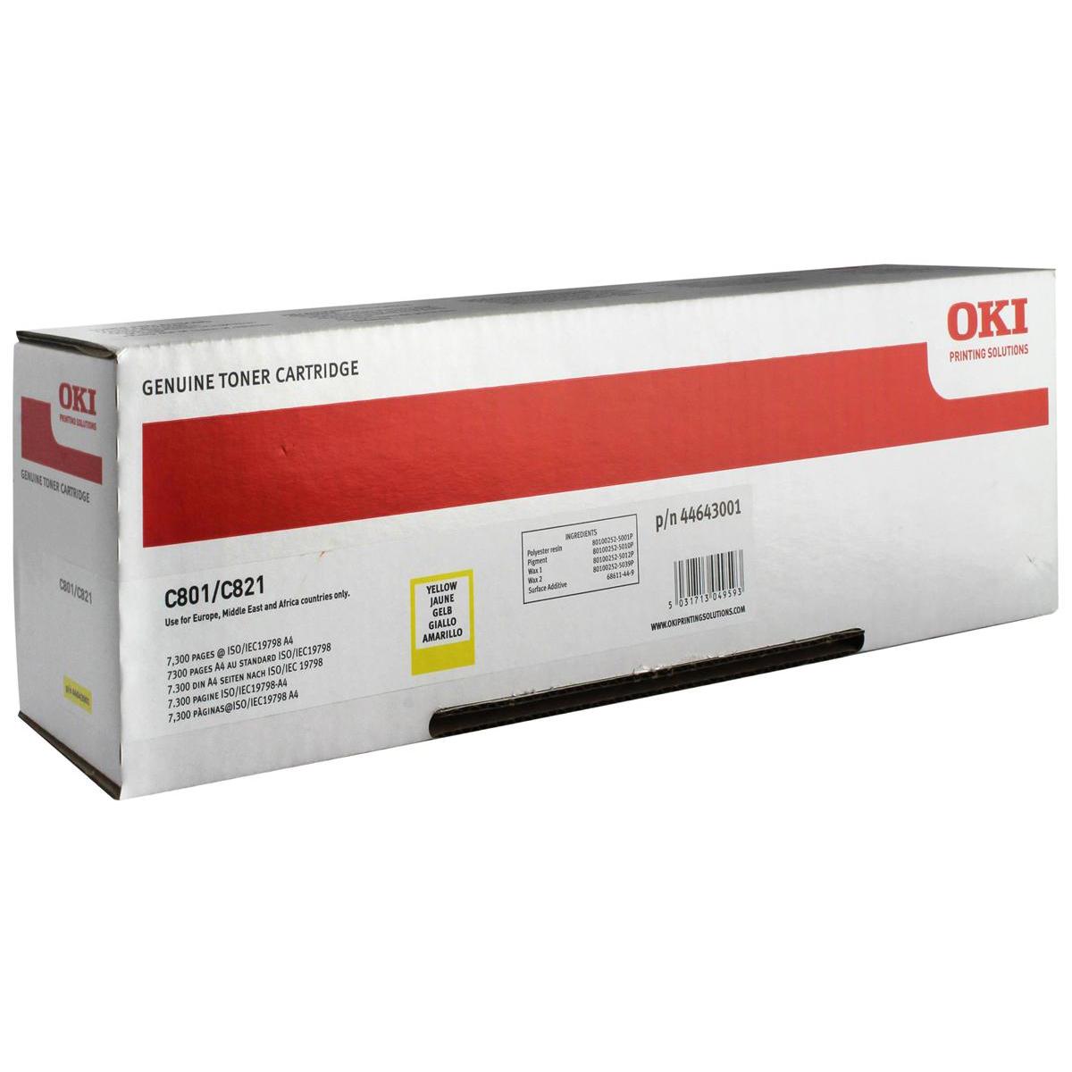 OKI Laser Toner Cartridge Page Life 7300pp Yellow Ref 44643001