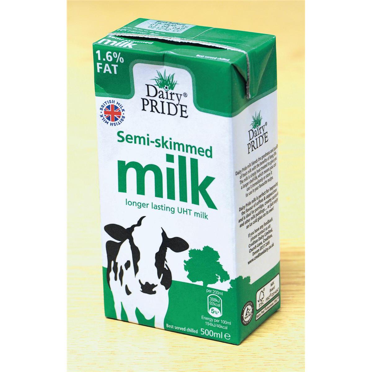 Dairy Pride Semi Skimmed Milk UHT 500ml Ref 0402058 Pack 12