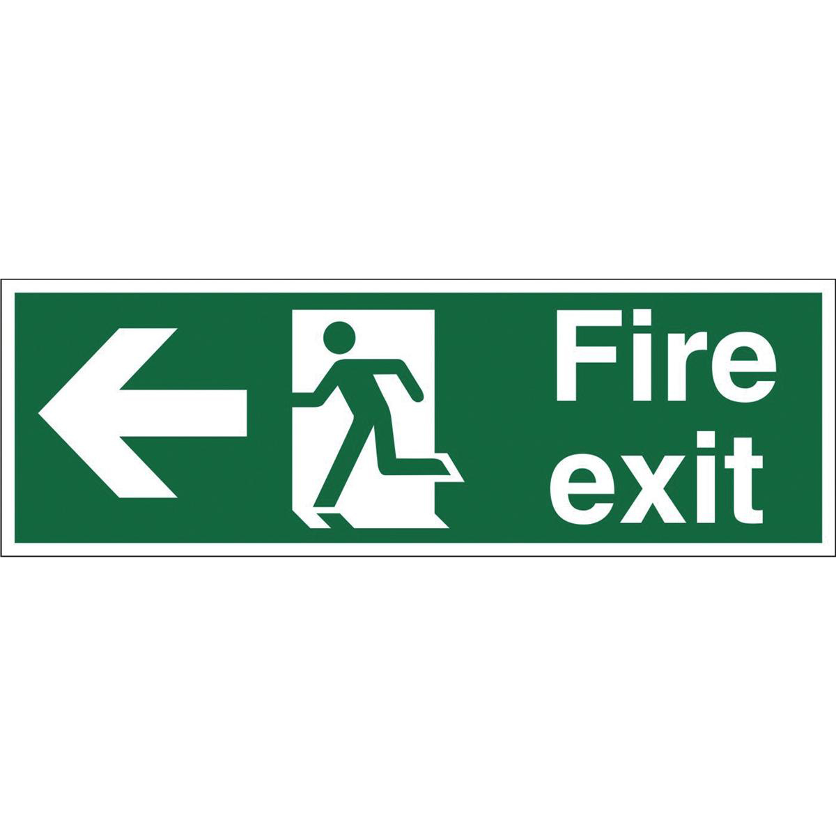 Fire Stewart Superior Fire Exit Sign Man and Arrow Left W450xH150mm Self-adhesive Vinyl Ref SP120SAV