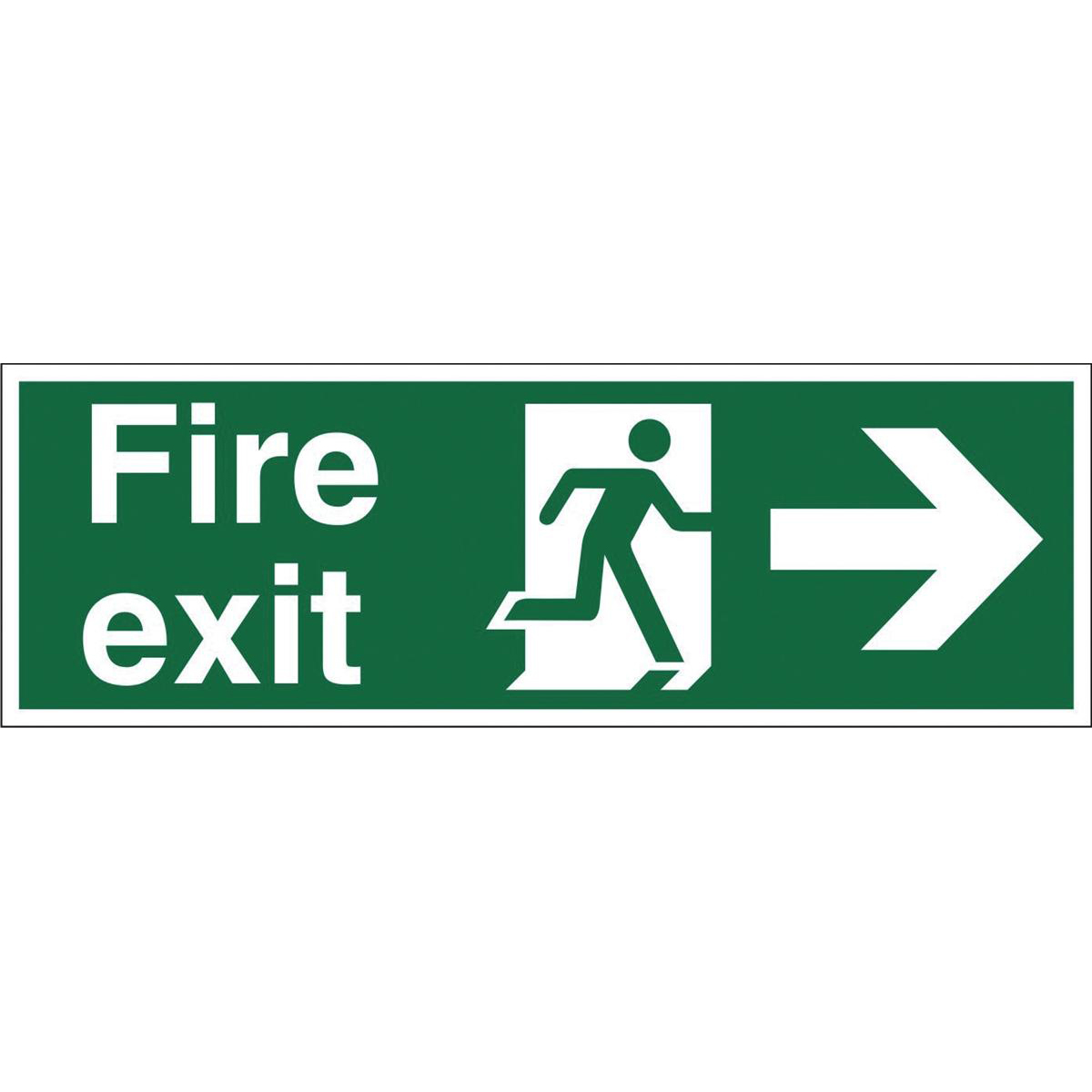 Fire Stewart Superior Fire Exit Sign Man and Arrow Right W450xH150mm Self-adhesive Vinyl Ref SP121SAV