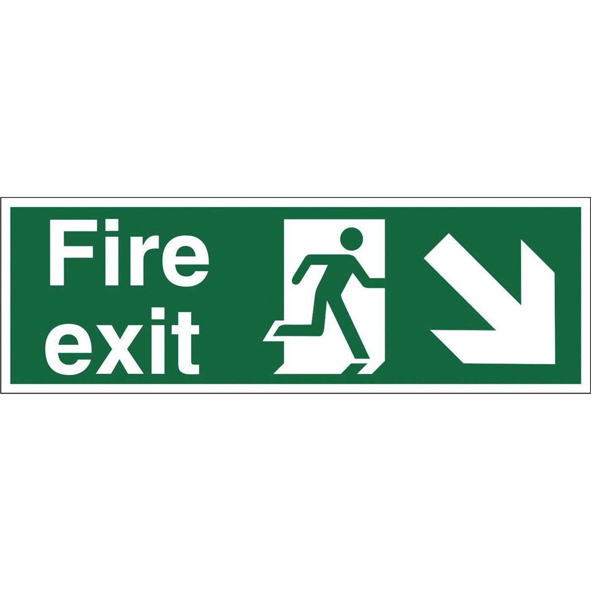 Stewart Superior Fire Exit Sign Man and Arrow Down Right W450xH150mm Self-adhesive Vinyl Ref SP123SAV