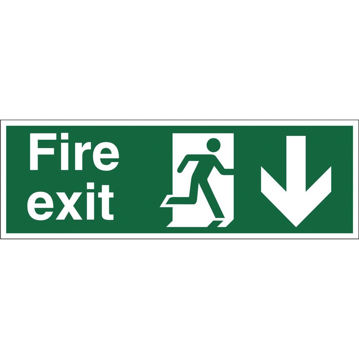 Fire Stewart Superior Fire Exit Sign Man and Arrow Down W450xH150mm Self-adhesive Vinyl Ref SP124SAV