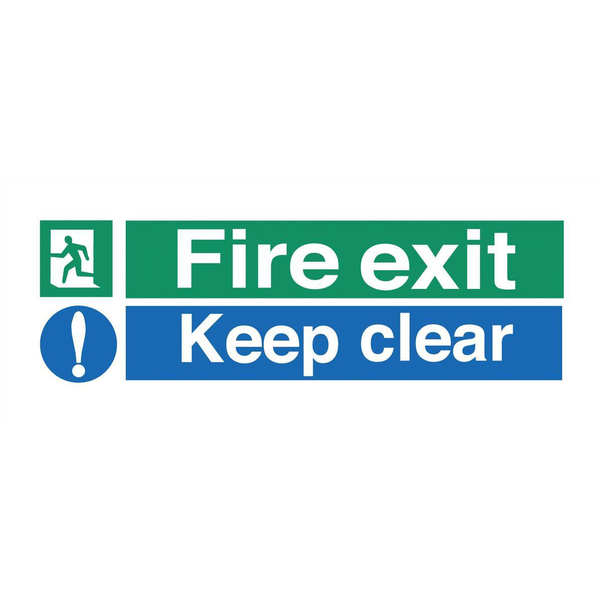 Fire Stewart Superior Fire Exit Sign Keep Clear W450xH150mm Self-adhesive Vinyl Ref SP126SAV