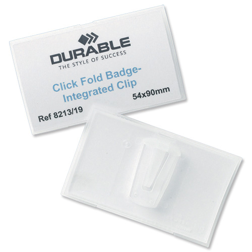 Durable Name Badge Click Fold Polypropylene Combi Clip and Insert 54x90mm Ref 8214/19 Pack 25
