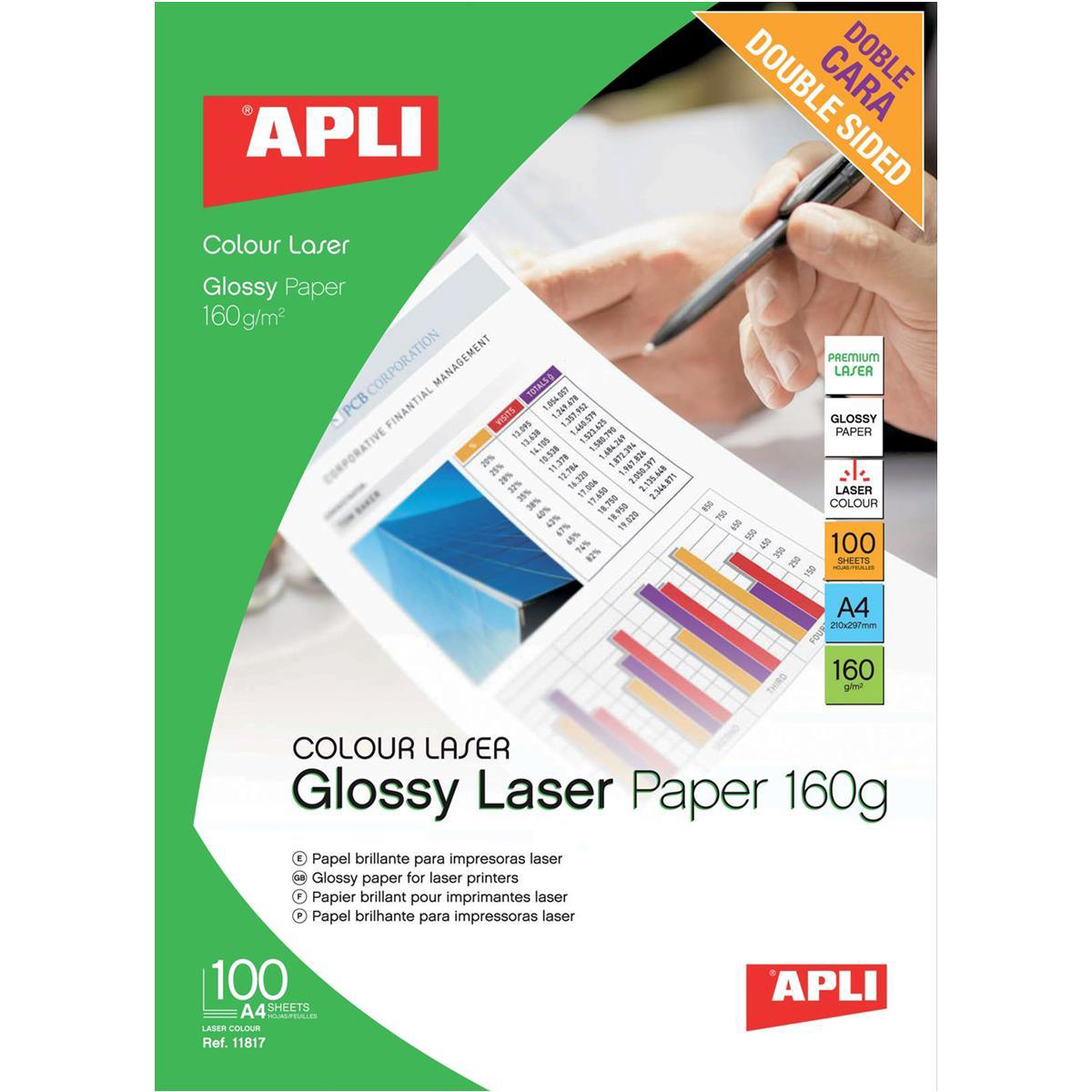 Photo Paper Apli Laser Paper Glossy Double-sided 160gsm A4 Ref 11817 100 Sheets
