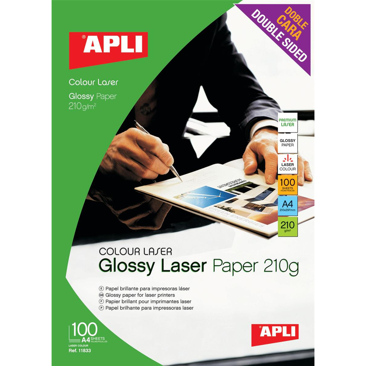 Apli Laser Paper Glossy Double-sided 210gsm A4 Ref 11833 100 Sheets