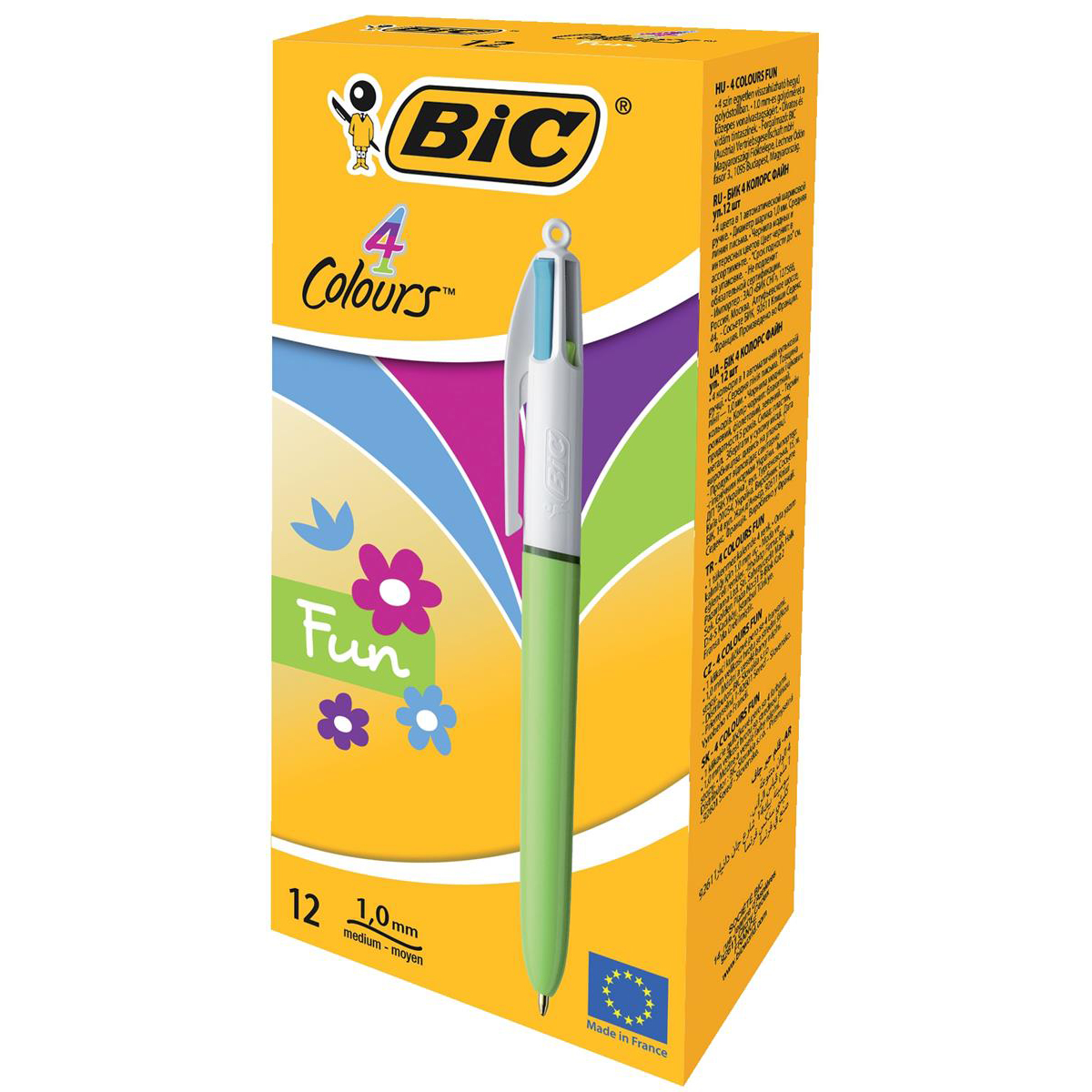 Bic 4-Colour Fun Ball Pen 1.0mm Tip 0.32mm Line Pink Purple Turquoise Lime Green Ref 887777 [Pack 12]