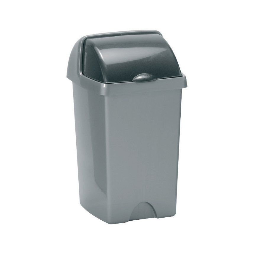 Non metallic bins Addis Roll Top Bin Plastic 25 Litres Metallic Silver