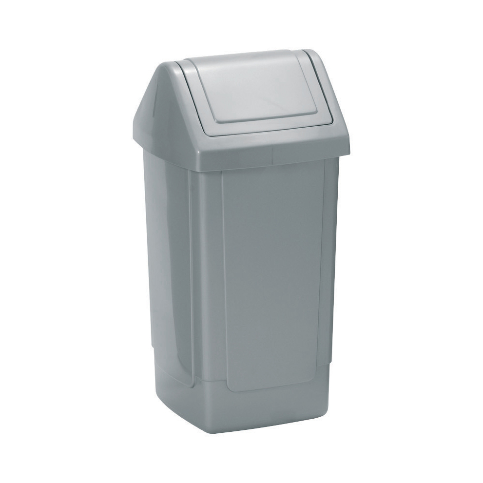 Swing Top Bin 40 Litres Metallic