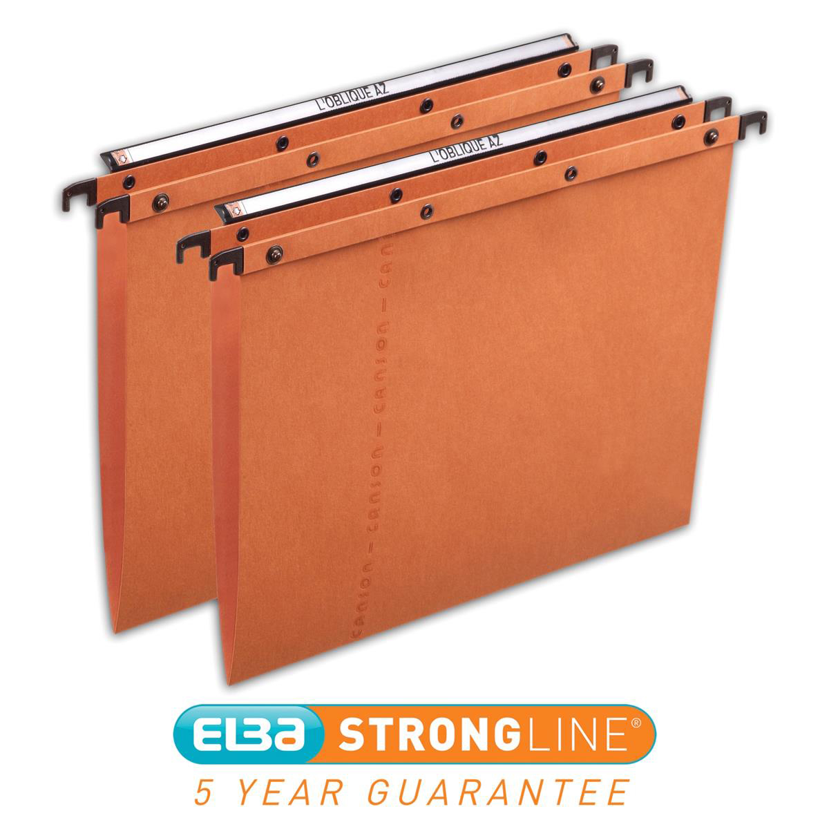 Elba AZO Ultimate Linking Suspension File 15mm V-Base 240gsm Foolscap Orange Ref 100330312 [Pack 25]