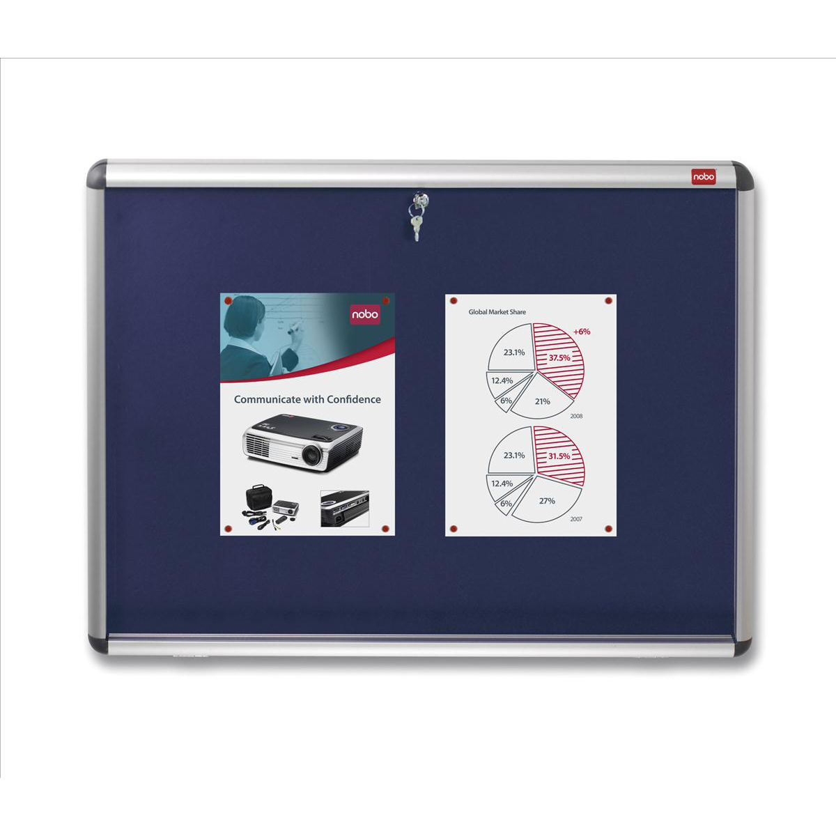 Display cases Nobo Display Cabinet Noticeboard Visual Insert Lockable A0 W1350xH1060mm Blue Ref 1902049