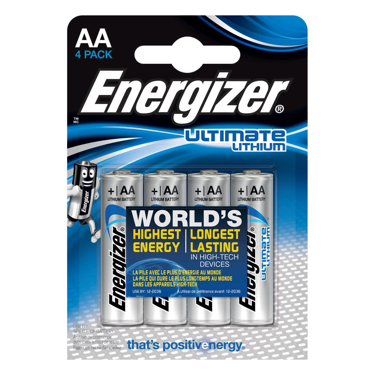 Energizer Ultimate Battery Lithium LR06 1.5V AA Ref 629611 Pack 4