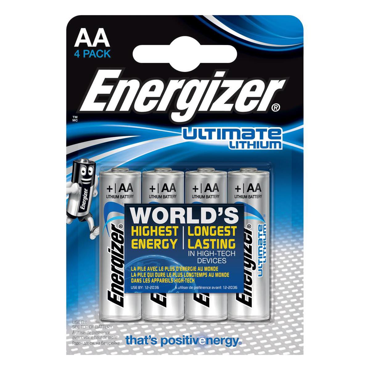 Energizer Ultimate Battery Lithium LR06 1.5V AA Ref 629611 Pack 4
