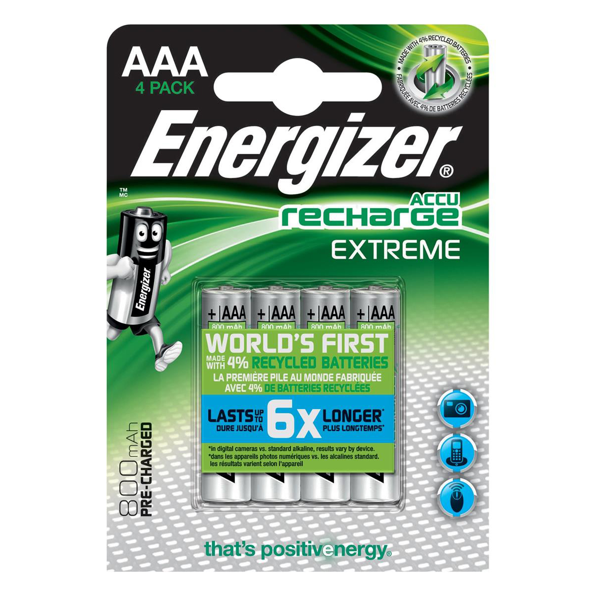 Energizer Battery Rechargeable Advanced NiMH Capacity 800mAh LR03 1.2V AAA Ref E300624400 Pack 4