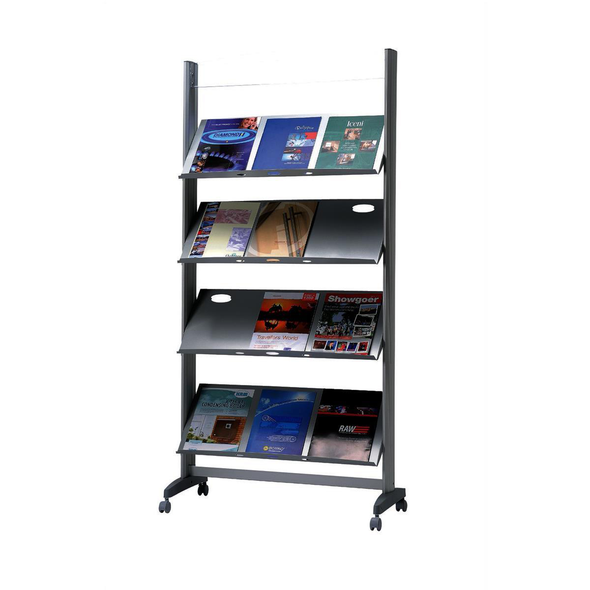 Fast Paper Literature Display Mobile 1 Sided 4 Metal Shelves 38mm Lip Ref 257TM.35