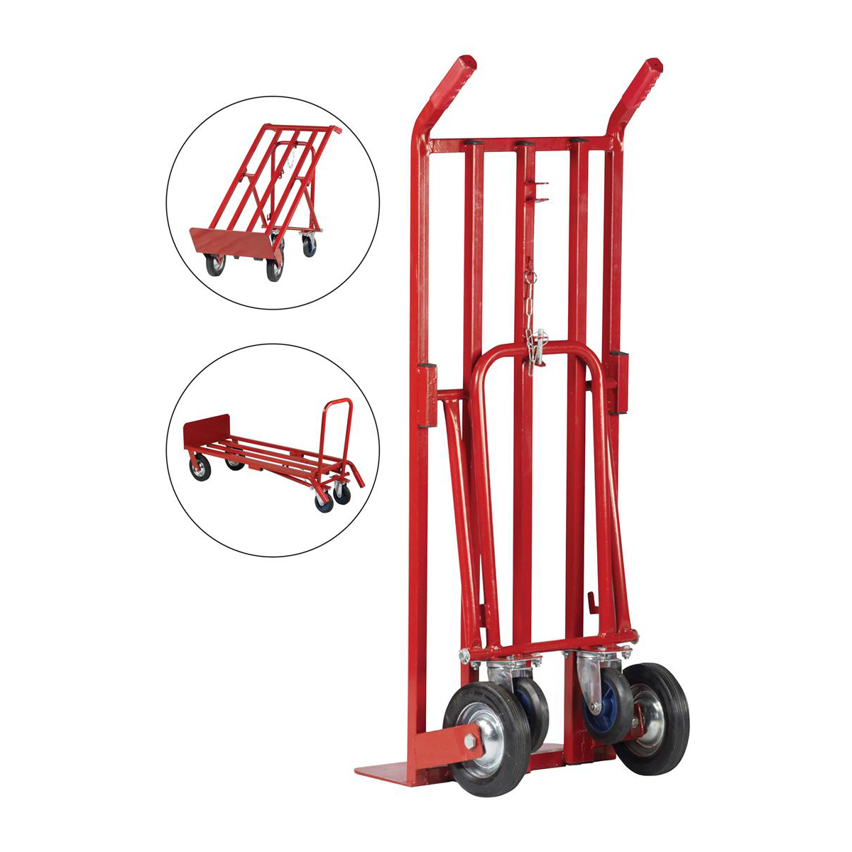 5 Star Facilities Sack Truck Heavy Duty 3 Position Steel Frame Double Rear Castors Capacity 300kg Red