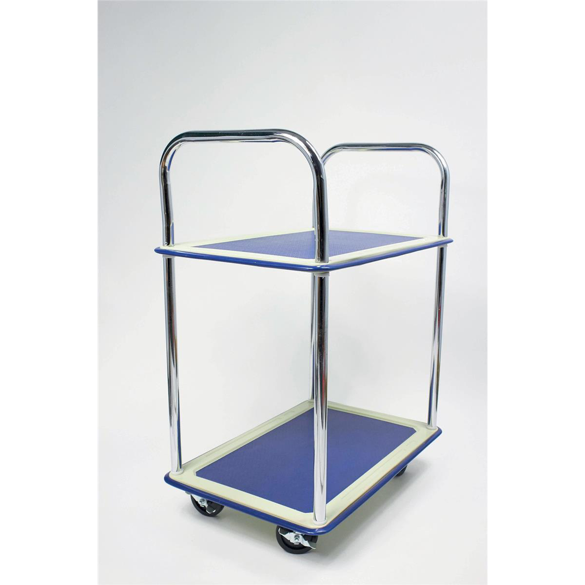 Image for 5 Star Facilities Trolley Lightweight Steel Frame 2 Shelf Capacity 120kg Chrome W470xD725xH950mm