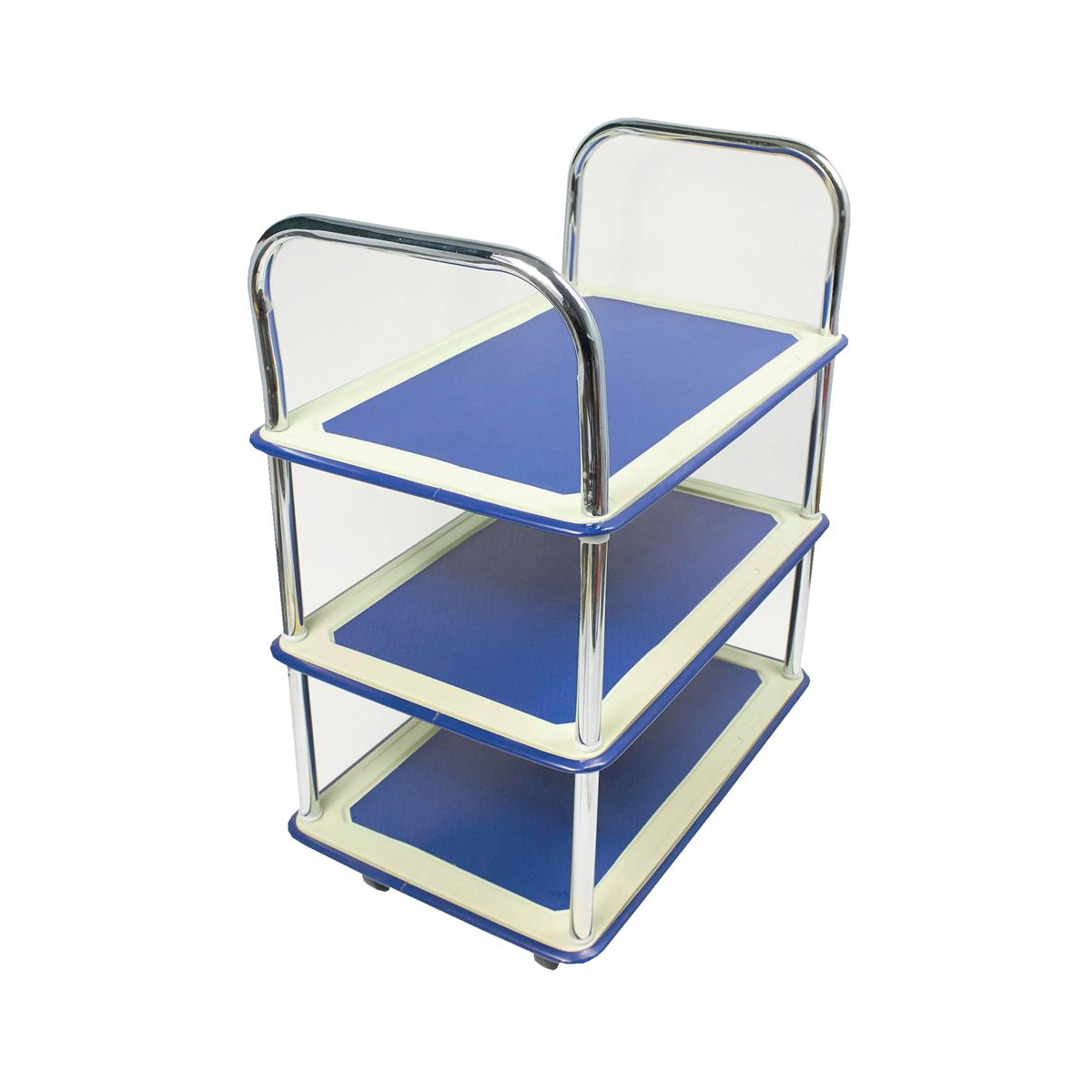 Trolleys or accessories 5 Star Facilities Trolley Lightweight Steel Frame 3 Shelf Capacity 120kg Chrome W470xD725xH950mm