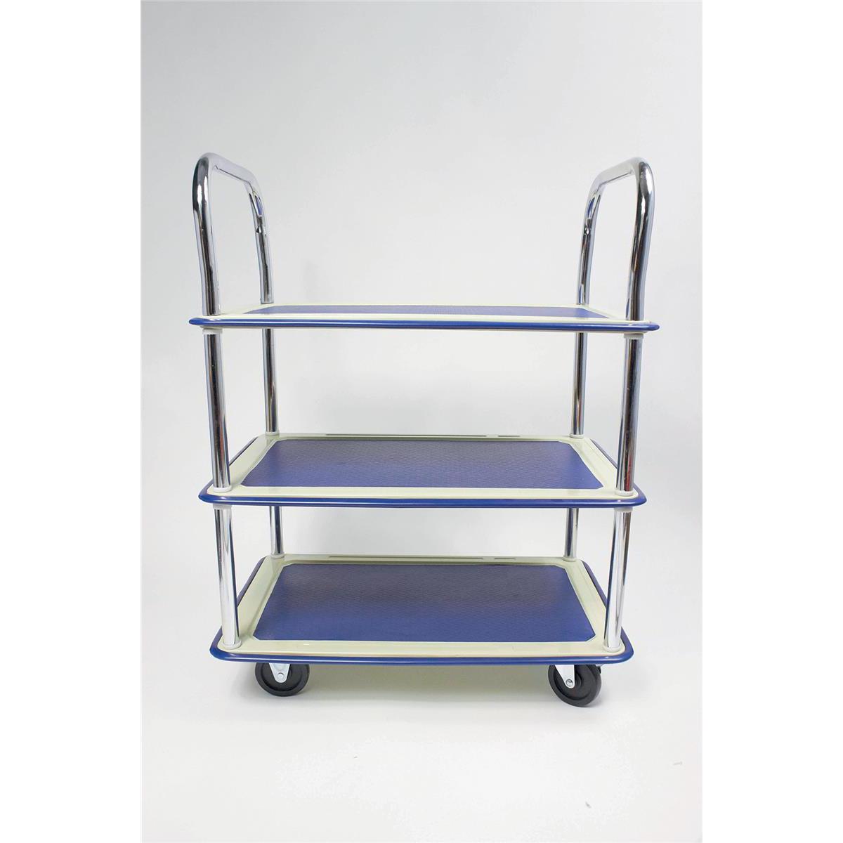 5 Star Facilities Trolley Lightweight Steel Frame 3 Shelf Capacity 120kg Chrome W470xD725xH950mm