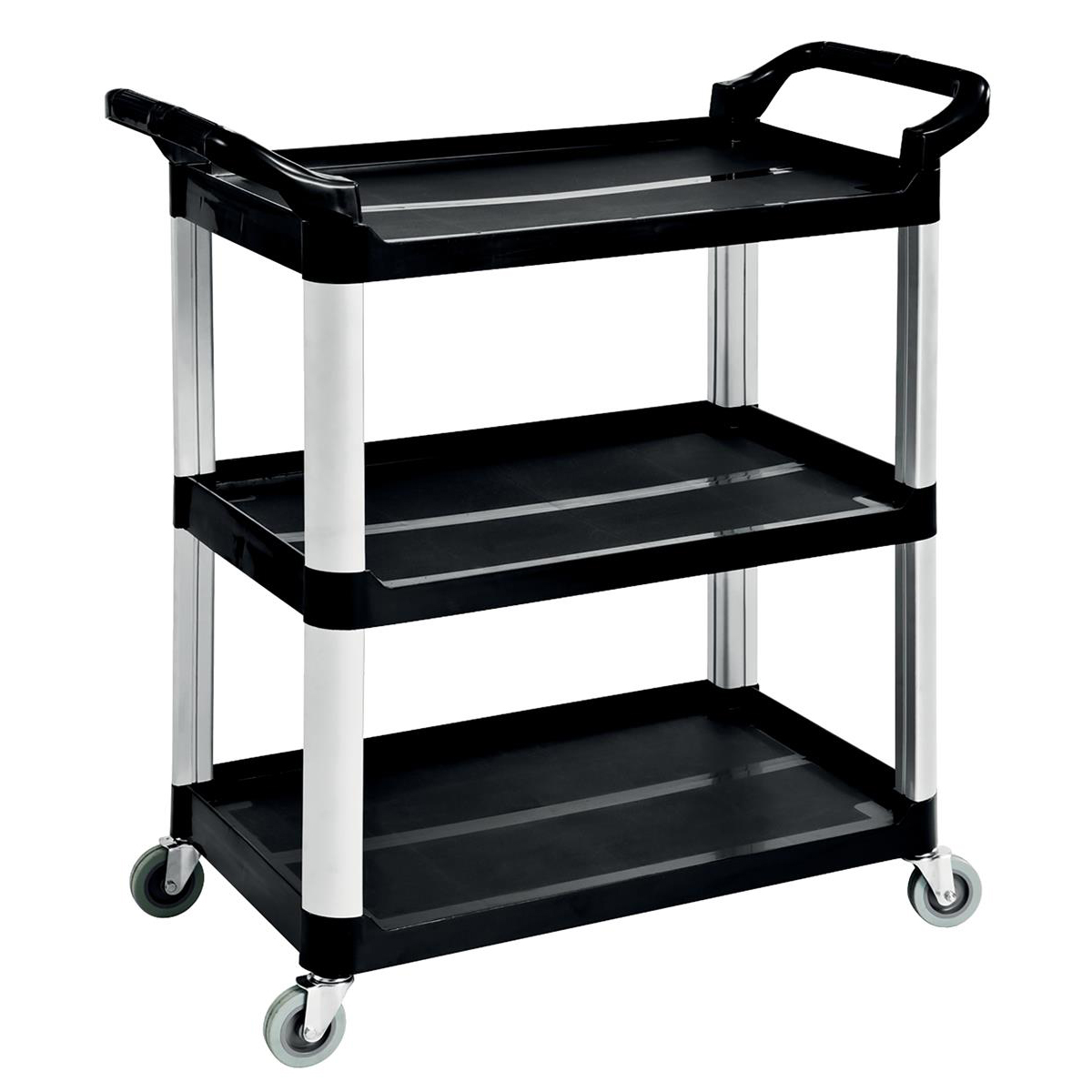 Image for 5 Star Facilities Utility Tray Trolley Standard 3 Shelf Capacity 150kg W460xD750xH980mm