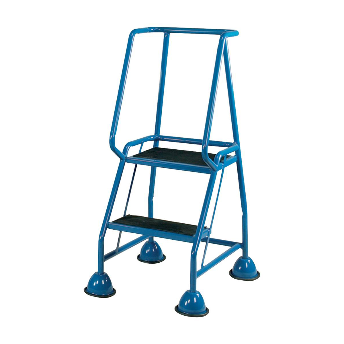 Image for Mobile Steps on Retractable Castors Double Handrails Two Tread W580xD540xH1185mm Blue