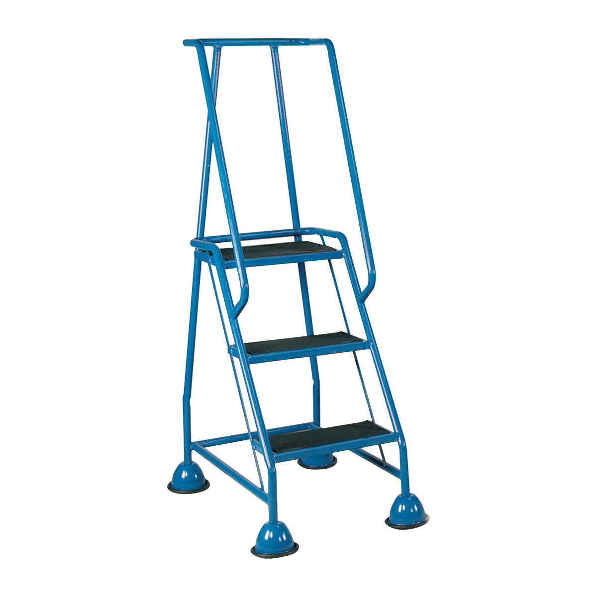 Image for Mobile Steps on Retractable Castors Double Handrails Three Tread W580xD795xxH1425mm Blue