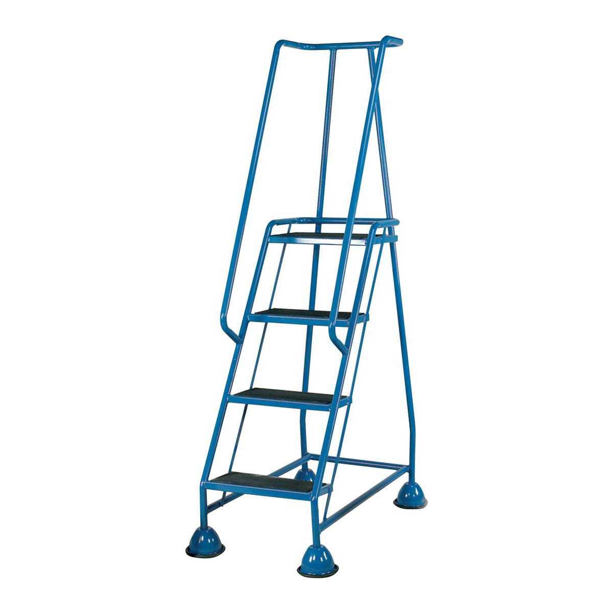 Image for Mobile Steps on Retractable Castors Double Handrails Four Tread W580xD955xH1683mm Blue