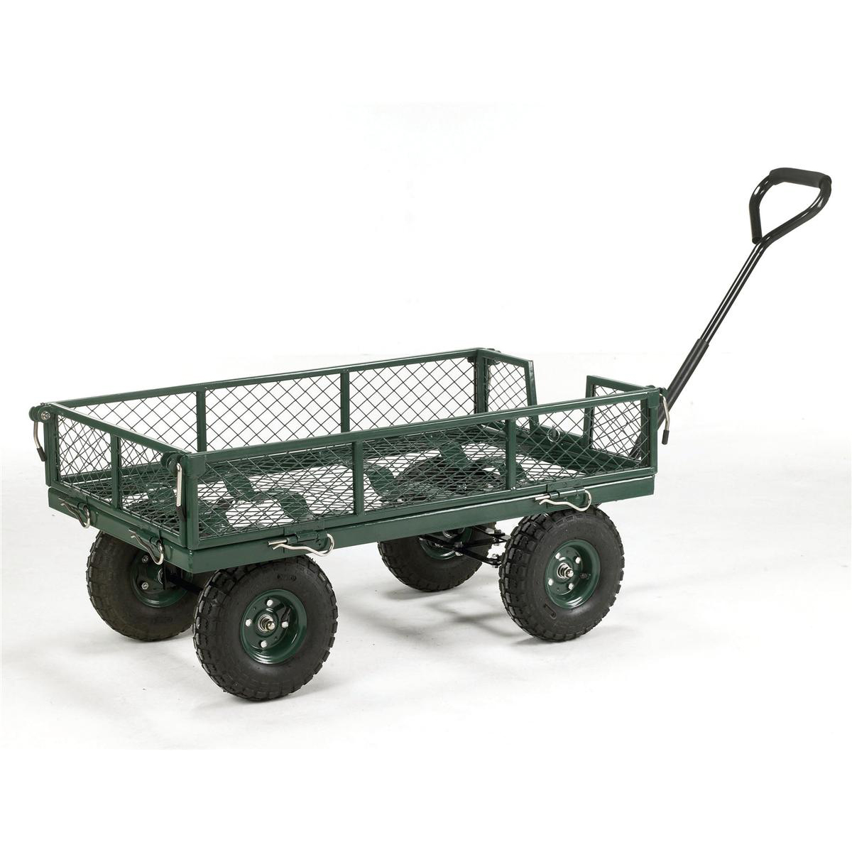 Platform Trucks Platform Truck Toptruck Mesh Four Sided Capacity 250kg Pneumatic Wheels Green