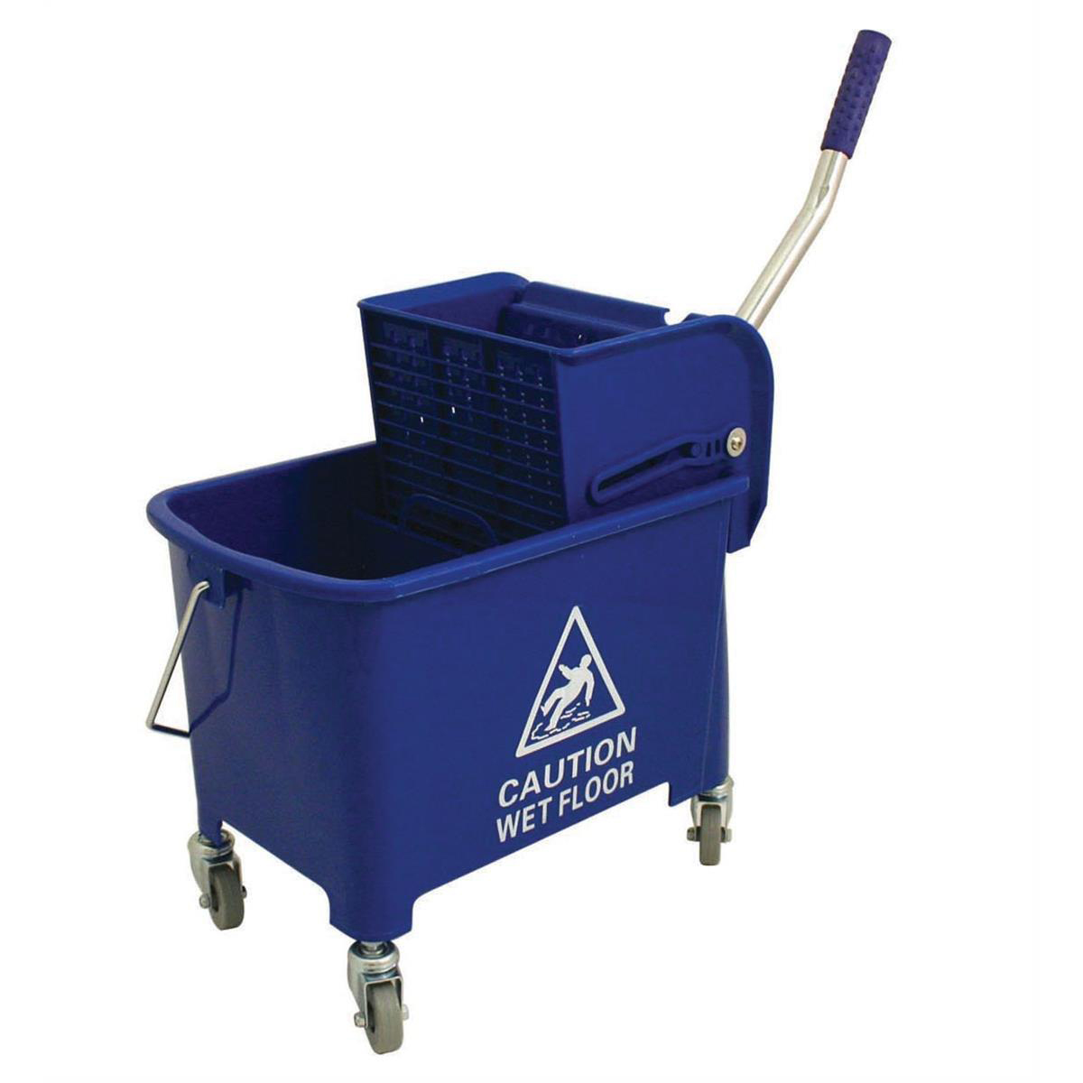 Buckets Mop Bucket Mobile Colour Coded with Handle 4 Castors 20 Litre Blue
