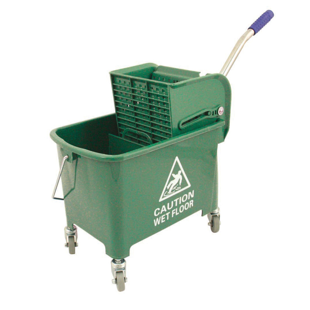 Mops & Buckets Mop Bucket Mobile Colour Coded with Handle 4 Castors 20 Litre Green
