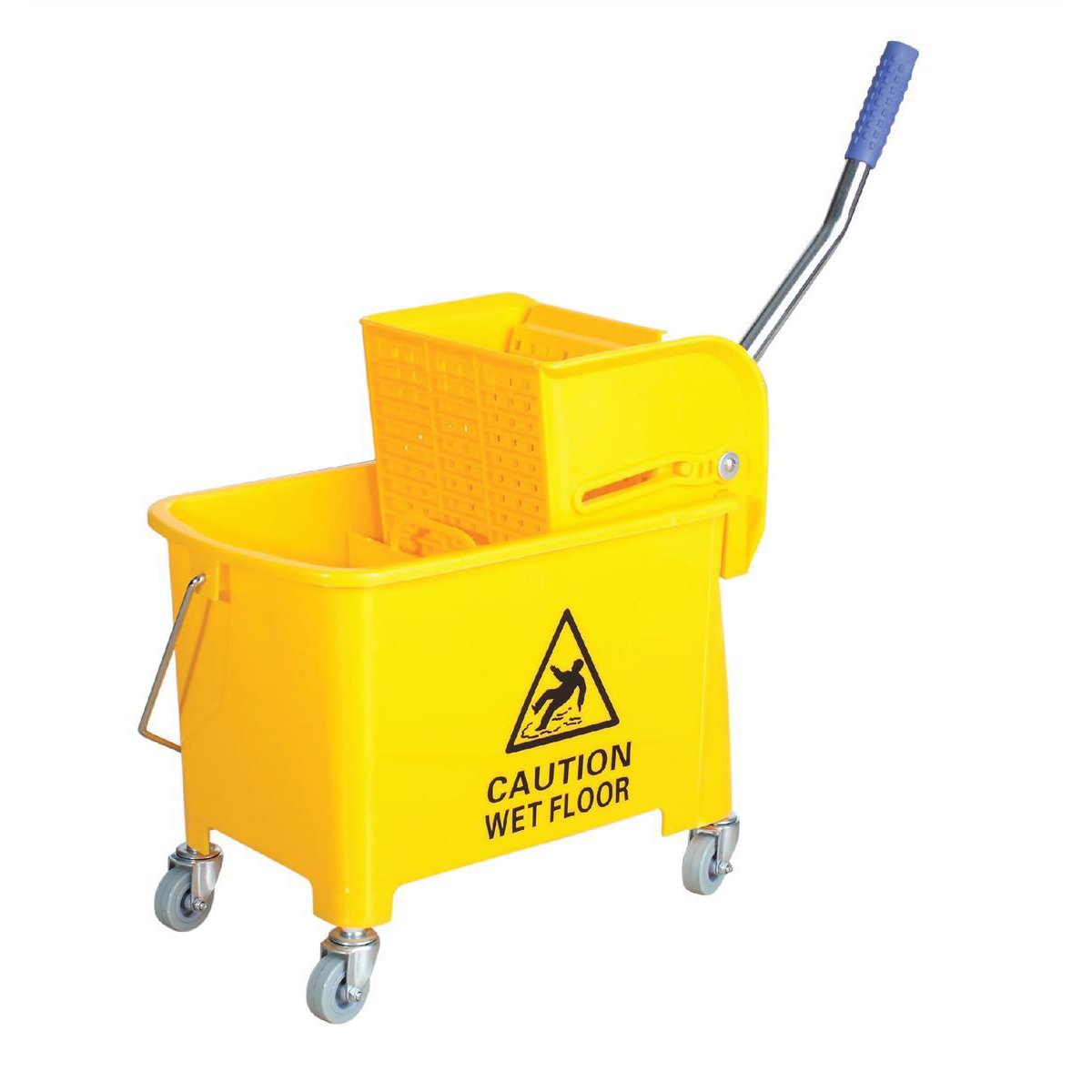 Mops & Buckets Mop Bucket Mobile Colour Coded with Handle 4 Castors 20 Litre Yellow
