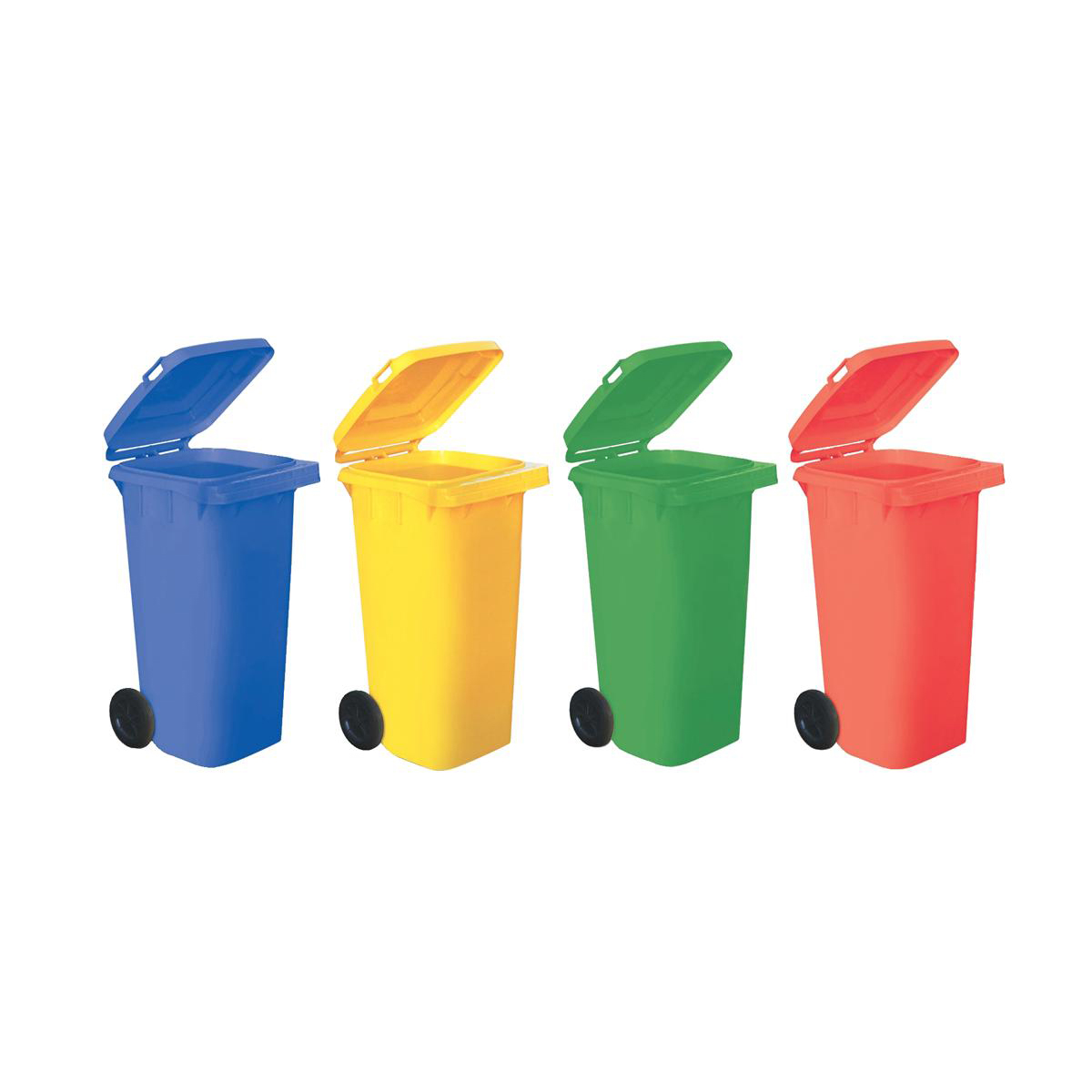 Bin containers or rigid liners Wheelie Bin High Density Polyethylene with Rear Wheels 120 Litre Capacity 480x560x930mm Red