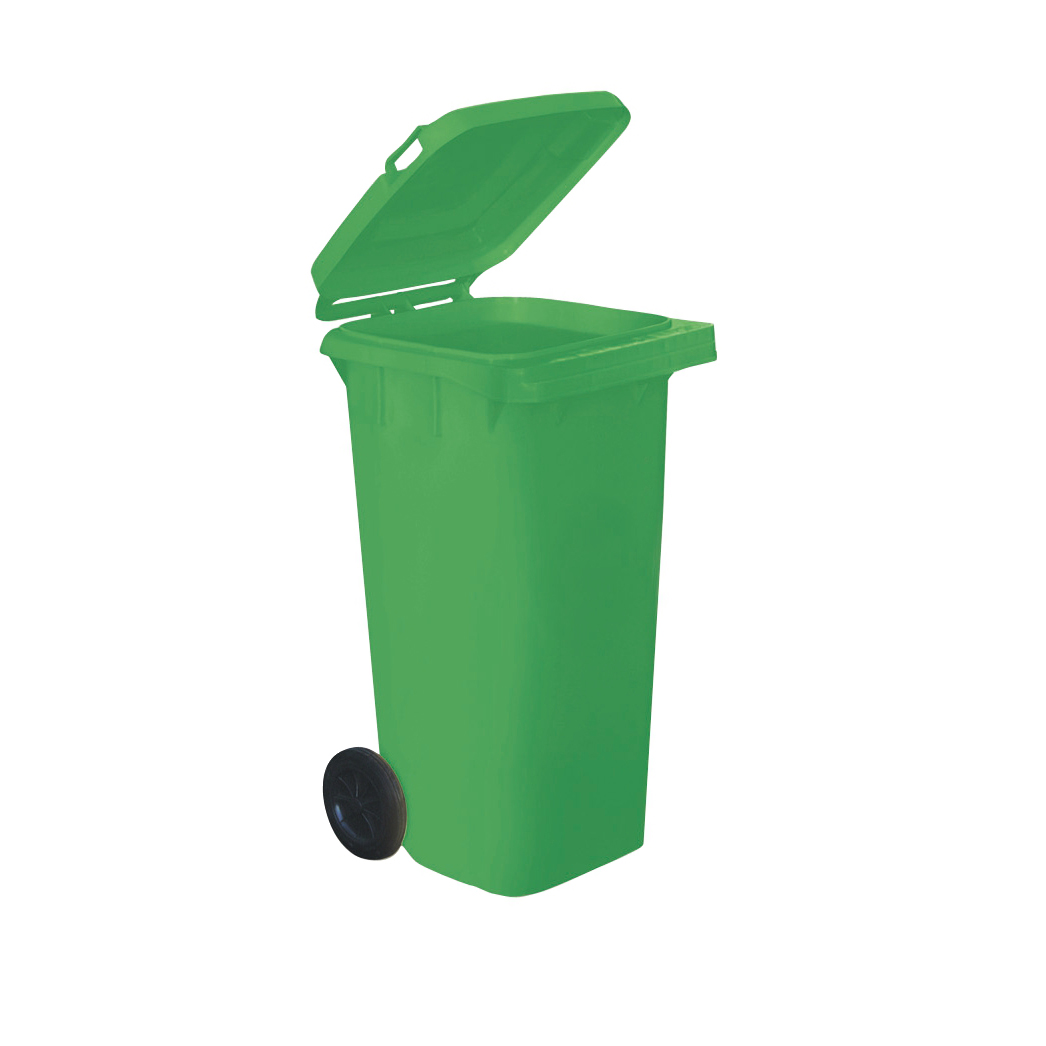 Wheelie Bin High Density Polyethylene with Rear Wheels 120 Litre Capacity 480x560x930mm Green