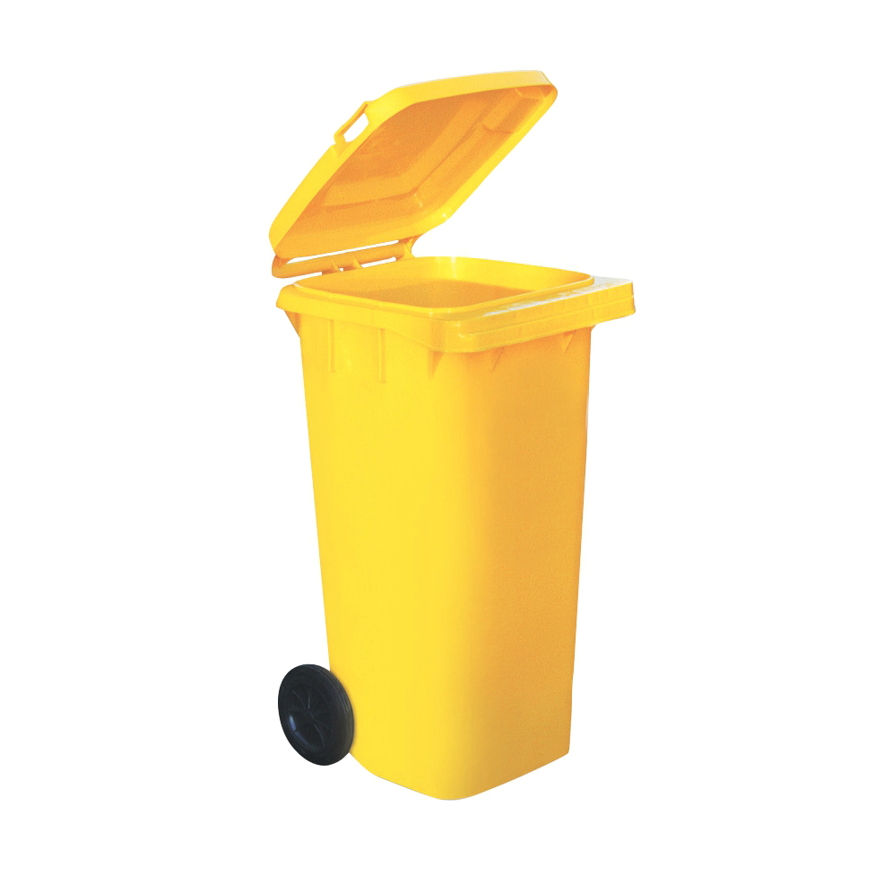 Wheelie Bin High Density Polyethylene with Rear Wheels 120 Litre Capacity 480x560x930mm Yellow